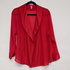 Cosmopolitan Tops - cosmopolitan | red long sleeve blazer sheer top L